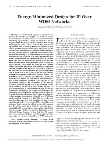 Energy-Minimized Design for IP Over WDM Networks