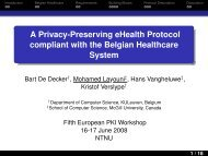 A Privacy-Preserving eHealth Protocol compliant with the ... - NTNU