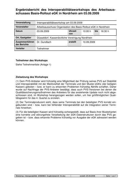 schusses Basis-Rollout eGK in Nordrhein am 03.09.2009