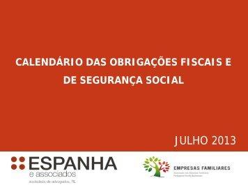 Calendário das Obrigações Fiscais e de Segurança Social 7/2013
