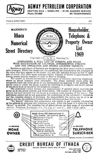 1969 Street Dir Tompkins County Public Library