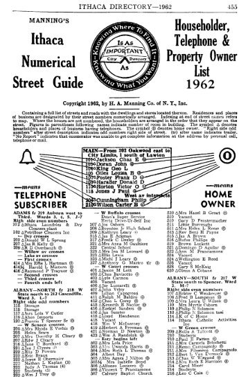 Ithaca Numerical Householder, Telephone & Property Owner Guide ...