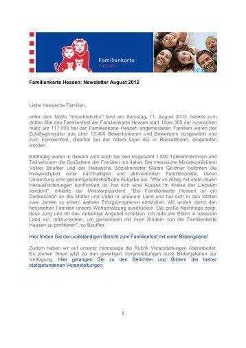 1 Familienkarte Hessen: Newsletter August 2012 Liebe hessische ...
