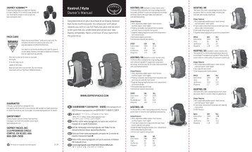 Kestrel / Kyte Owner's Manual - Osprey Packs, Inc