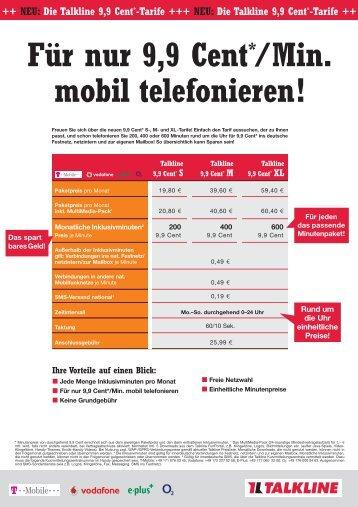 Für nur 9,9 Cent*/Min. mobil telefonieren!