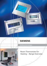 Room Thermostats for Heating – Range Overview - Siemens