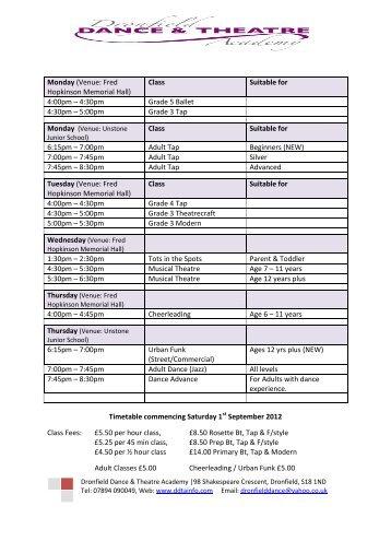Class Timetable - Dronfield Dance & Theatre Academy