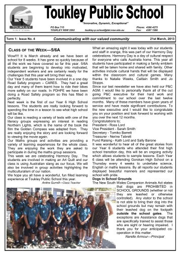 TERM 1 Issue 4 - Toukley Public School