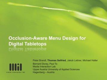 Occlusion-aware menu design for digital tabletops - Media ...