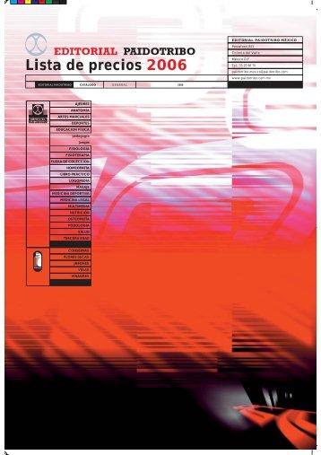 Lista de precios 2006 - Editorial Paidotribo Mexico