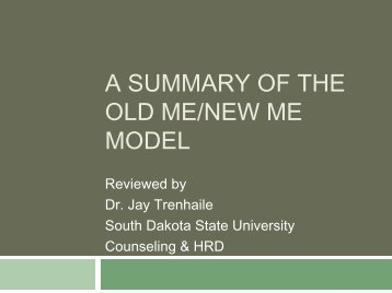 A SUMMARY OF THE OLD ME/NEW ME MODEL