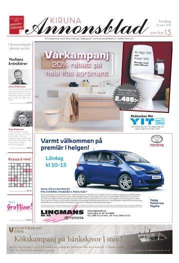 Kiruna Annonsblad vecka 13, torsdag 31 mars 2011 sidan 1
