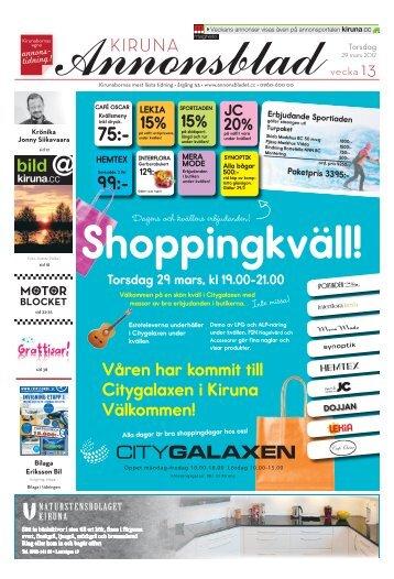 Kiruna Annonsblad vecka 13, torsdag 29 mars 2012 sidan 1