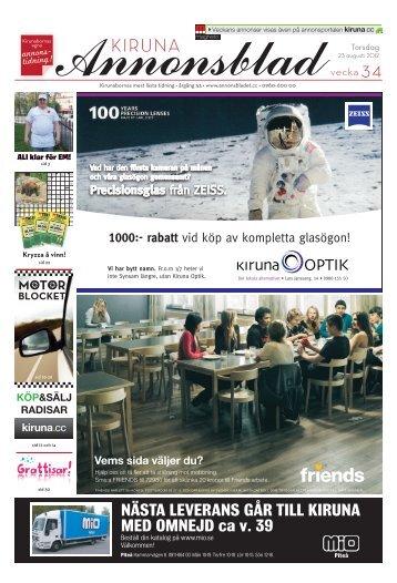 Kiruna Annonsblad vecka 34, torsdag 23 augusti 2012 sidan 1