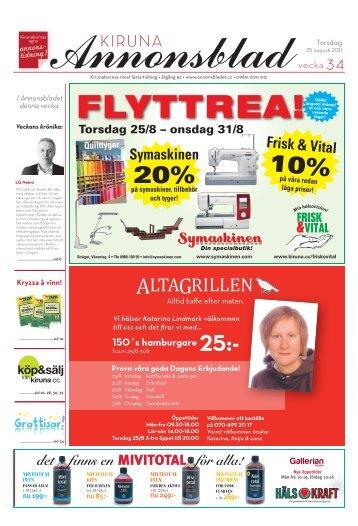 Kiruna Annonsblad vecka 34, torsdag 25 augusti 2011 sidan 1