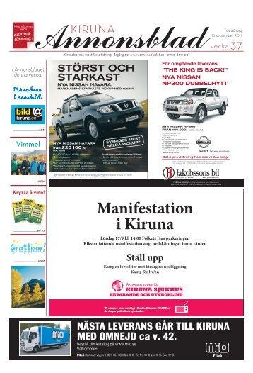 Kiruna Annonsblad vecka 37, torsdag 15 september 2011 sidan 1