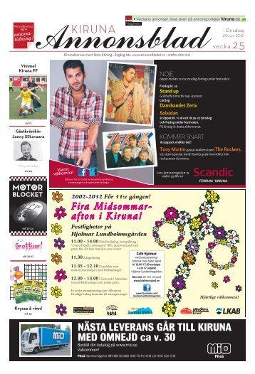 Kiruna Annonsblad vecka 25, onsdag 20 juni 2012 sidan 1