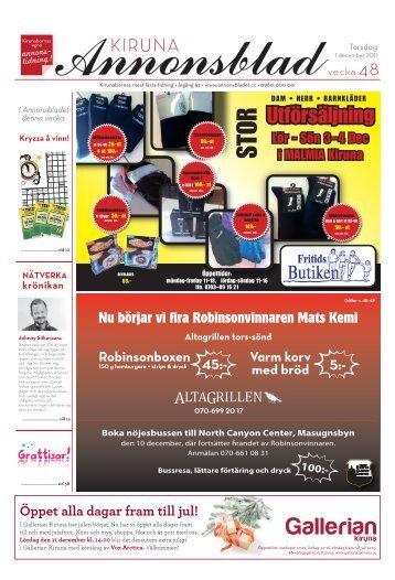 Kiruna Annonsblad vecka 48, torsdag 1 december 2011 sidan 1