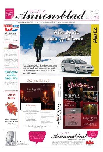 Kiruna Annonsblad vecka 38, torsdag 22 september 2011 sidan 1