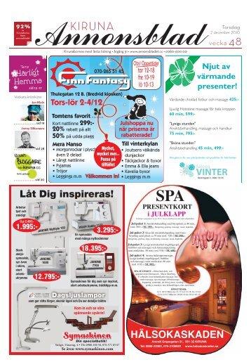 Kiruna Annonsblad vecka 48, torsdag 2 december sidan 1