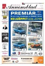 Kiruna Annonsblad vecka 23, torsdag 7 juni 2012 sidan 1