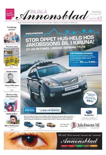 Kiruna Annonsblad vecka 43, torsdag 25 oktober 2012 sidan 1