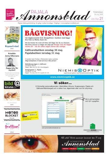 Kiruna Annonsblad vecka 21, torsdag 24 maj 2012 sidan 1