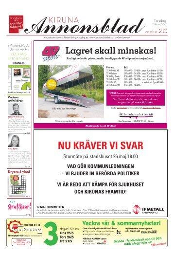 Kiruna Annonsblad vecka 20, torsdag 19 maj 2011 sidan 1