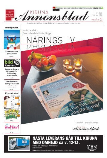 Kiruna Annonsblad vecka 5, torsdag 2 februari 2012 sidan 1