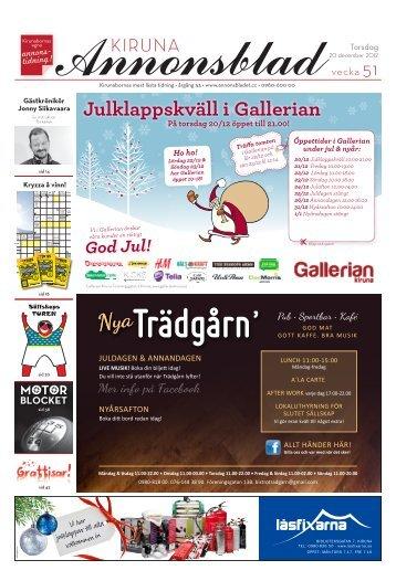 Kiruna Annonsblad vecka 51, torsdag 20 december 2012 sidan 1