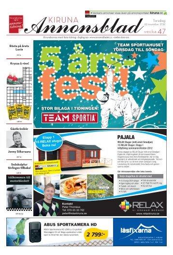Kiruna Annonsblad vecka 47, torsdag 22 november 2012 sidan 1