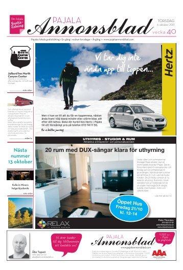 Kiruna Annonsblad vecka 40, torsdag 6 oktober 2011 sidan 1