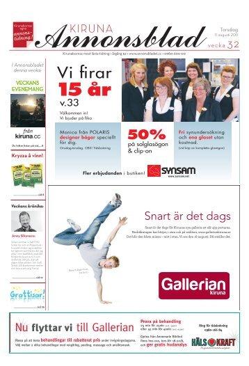 Kiruna Annonsblad vecka 32, torsdag 11 augusti 2011 sidan 1