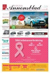 Kiruna Annonsblad vecka 41, torsdag 13 oktober 2011 sidan 1