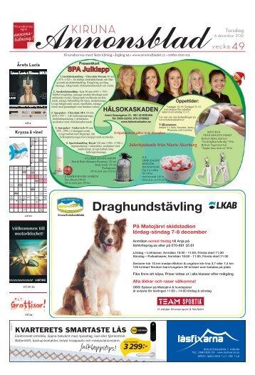 Kiruna Annonsblad vecka 49, torsdag 6 december 2012 sidan 1
