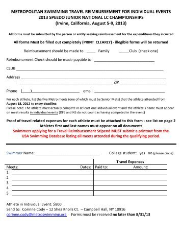 2013 Lcm Ncsa Junior Nationals Travel Expense Form