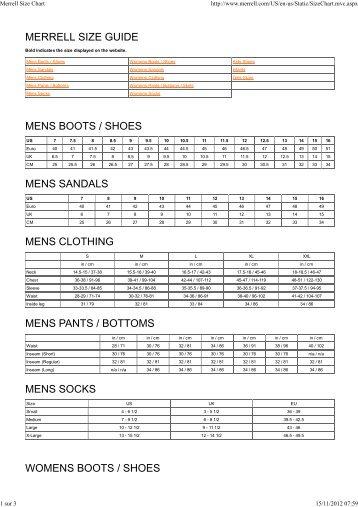 Merrell Size Chart - Cham3S