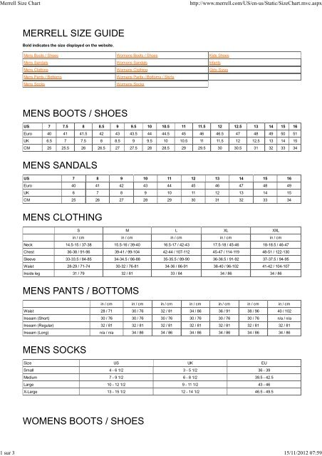 merrell uk size chart graph