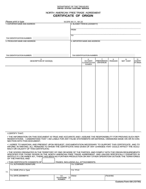 Certificate of origin sample free rental receipt template sample country of origin certificate sample salary certification us cbp nafta certificate of origin expeditors country of xflitez Gallery