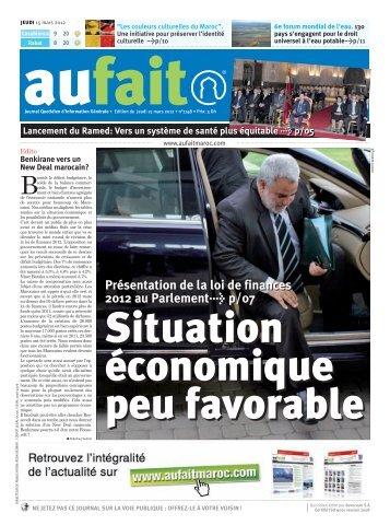 Edition du jeudi 15 mars 2012 - AUFAIT Maroc