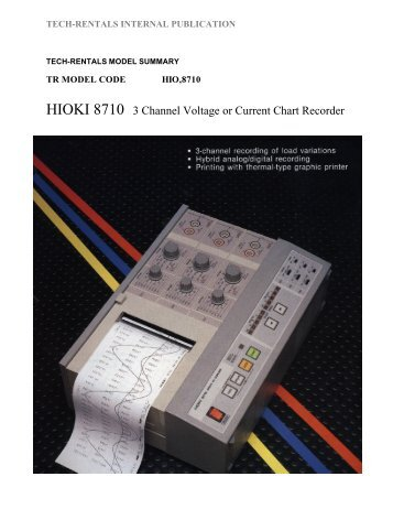 HIOKI 8710 3 Channel Voltage or Current Chart ... - Tech-Rentals
