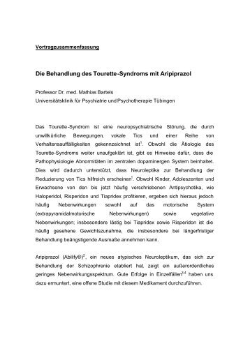 Die Behandlung des Tourette-Syndroms mit Aripiprazol
