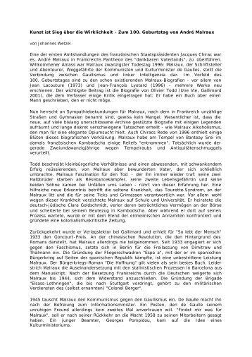 Zum 100. Geburtstag von André Malraux - Tourette Syndrom ...
