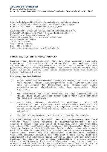 Tourette-Syndrom - Fragen und Antworten - Tourette-Gesellschaft ...