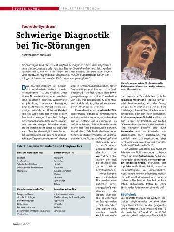 (DNP) vom Aug 2002 zur schwierigen Diagnostik des Tourette ...
