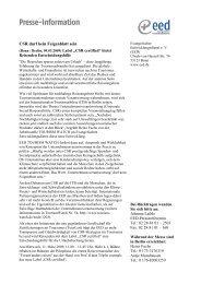 Pressemitteilung: CSR-Zertifizierung - Tourism Watch