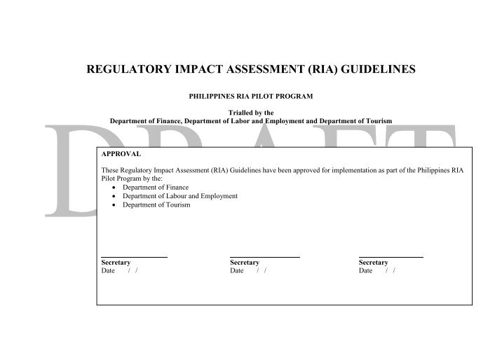 regulatory impact assessment guideline february 2012 Environmental assessment general guideline may 2012 eia environmental impact assessment • assist the regulatory agency.