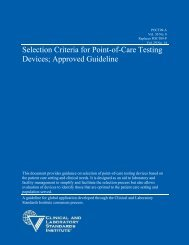 Selection Criteria for Point-of-Care Testing Devices; Approved - CLSI