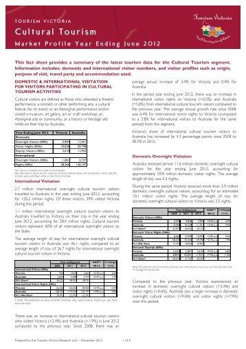 Cultural Tourism Market Profile, year ending June ... - Tourism Victoria