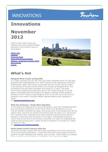 Innovations November 2012 [pdf ] 219 KB - Tourism Western Australia